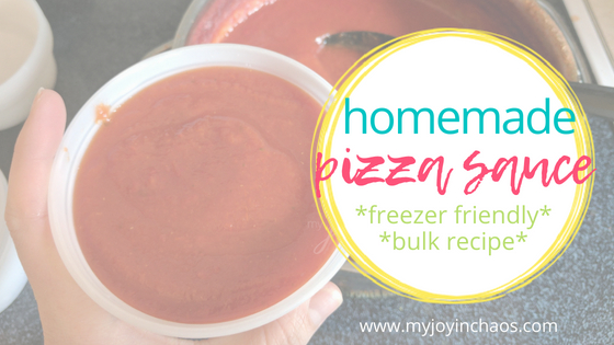 homemade pizza sauce in freezer container