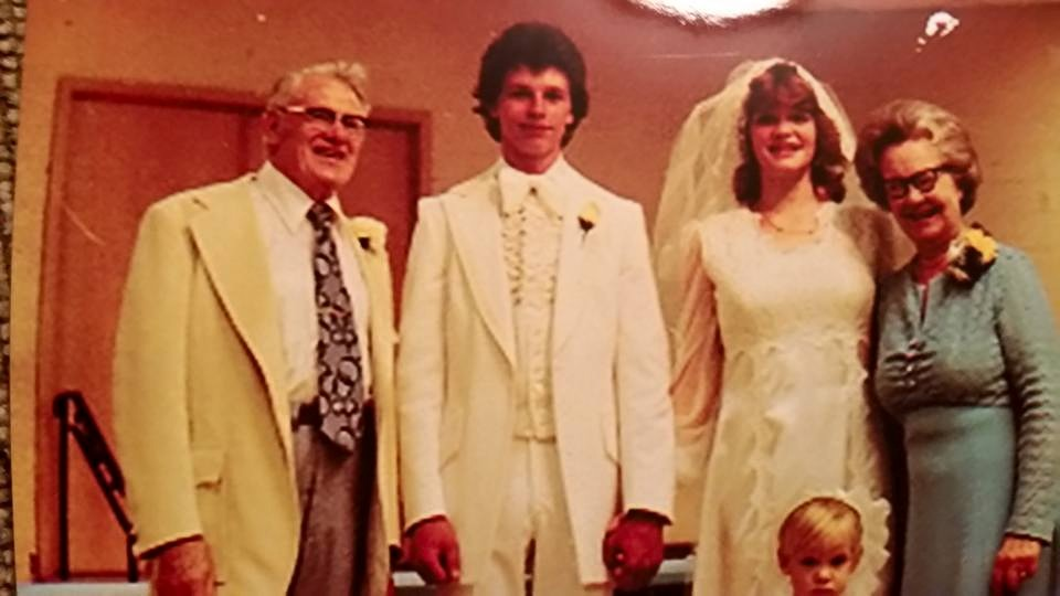 My great grandparents with my aunt and uncle at their wedding in 1977.