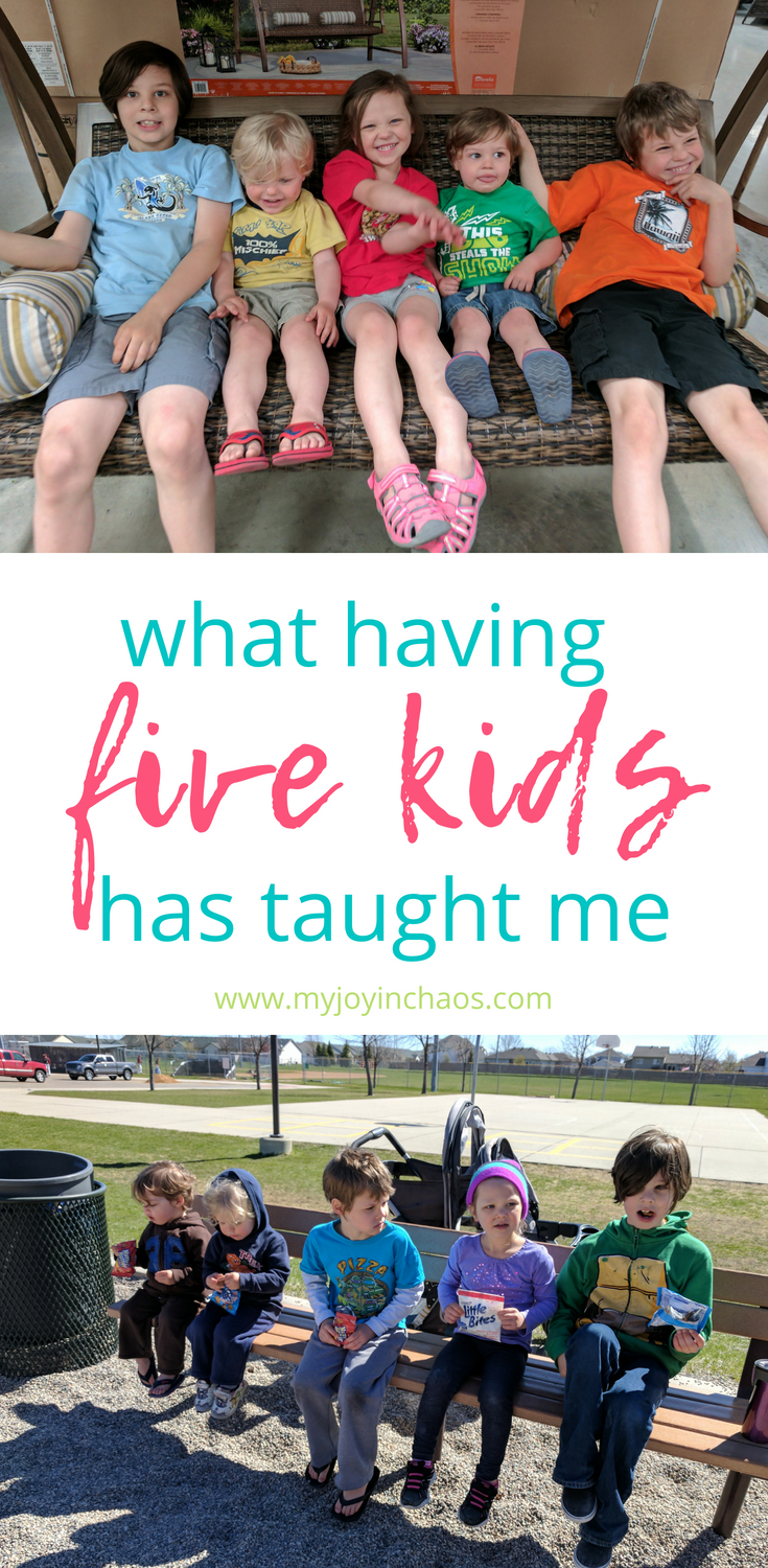 They are the lessons I need to remember when the chaos is building and I feel like I can't handle being a mom. That while this is happening it will also pass, there is more than just the loud and the crazy.  #motherhood #largefamily #mediumfamily #fivekids #twins