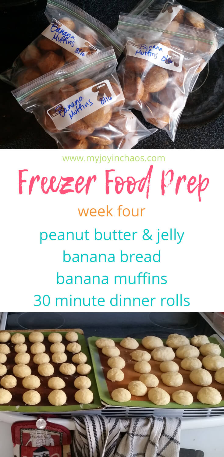 Let's continue filling our freezers with easy to grab snacks, lunches and sides. This week we are making peanut butter & jelly sandwiches, banana bread, banana muffins, and 30 minute dinner rolls. #freezercooking #makeaheadmeals #homemadeuncrustables