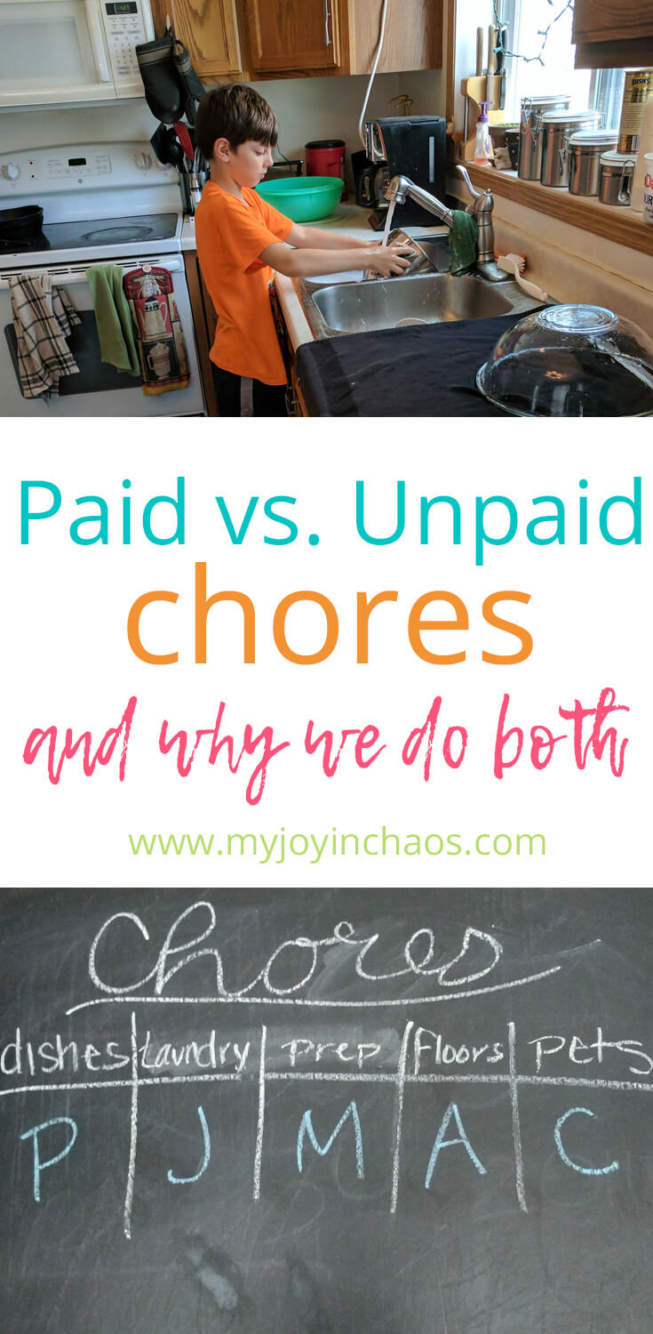 boy washing dishes over text stating paid vs unpaid chores and why we do both