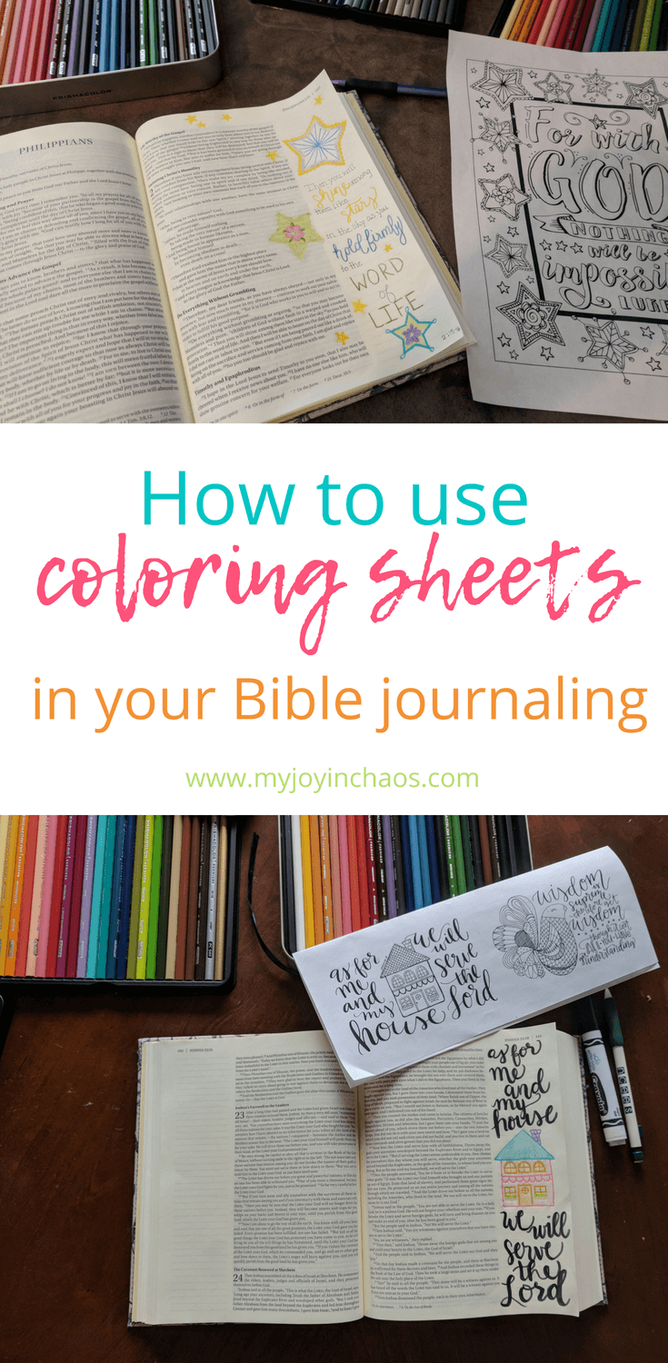 Tips for using coloring sheets in your Bible journaling to create great looking pages. #biblejournaling #colorinbible