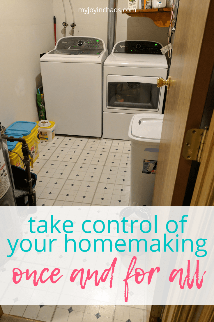 Take control of your homemaking once and for all | Create a homemaking routine that helps you accomplish all your tasks each week without feeling frazzled or burnt out. Get your cleaning, errands, and office work taken care of with a rest day to spare! #homemaking #cleaningroutine #motherhood #laundrysystem #paperwork #myjoyinchaos