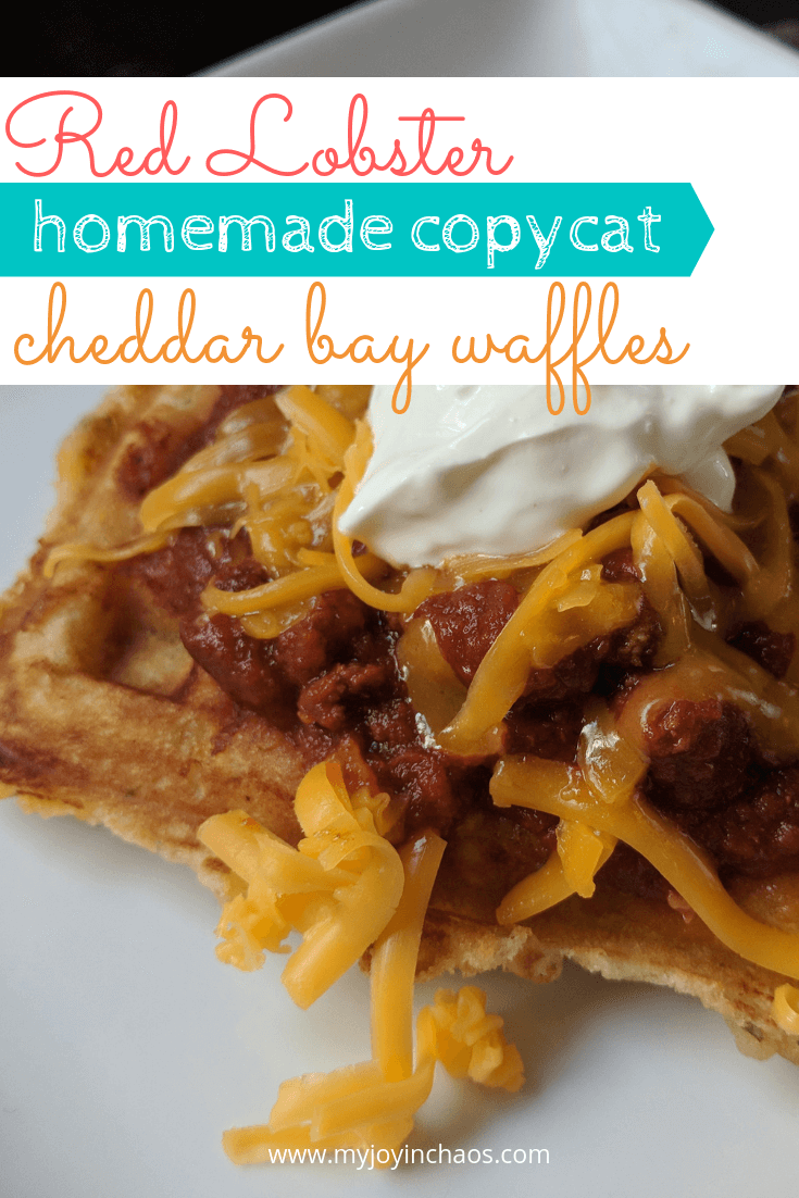 cheddar bay waffles topped with chili