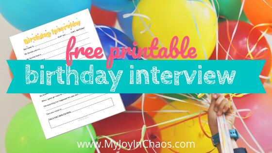 Free Printable Birthday Interview