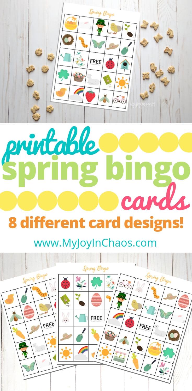 Free printable spring bingo cards