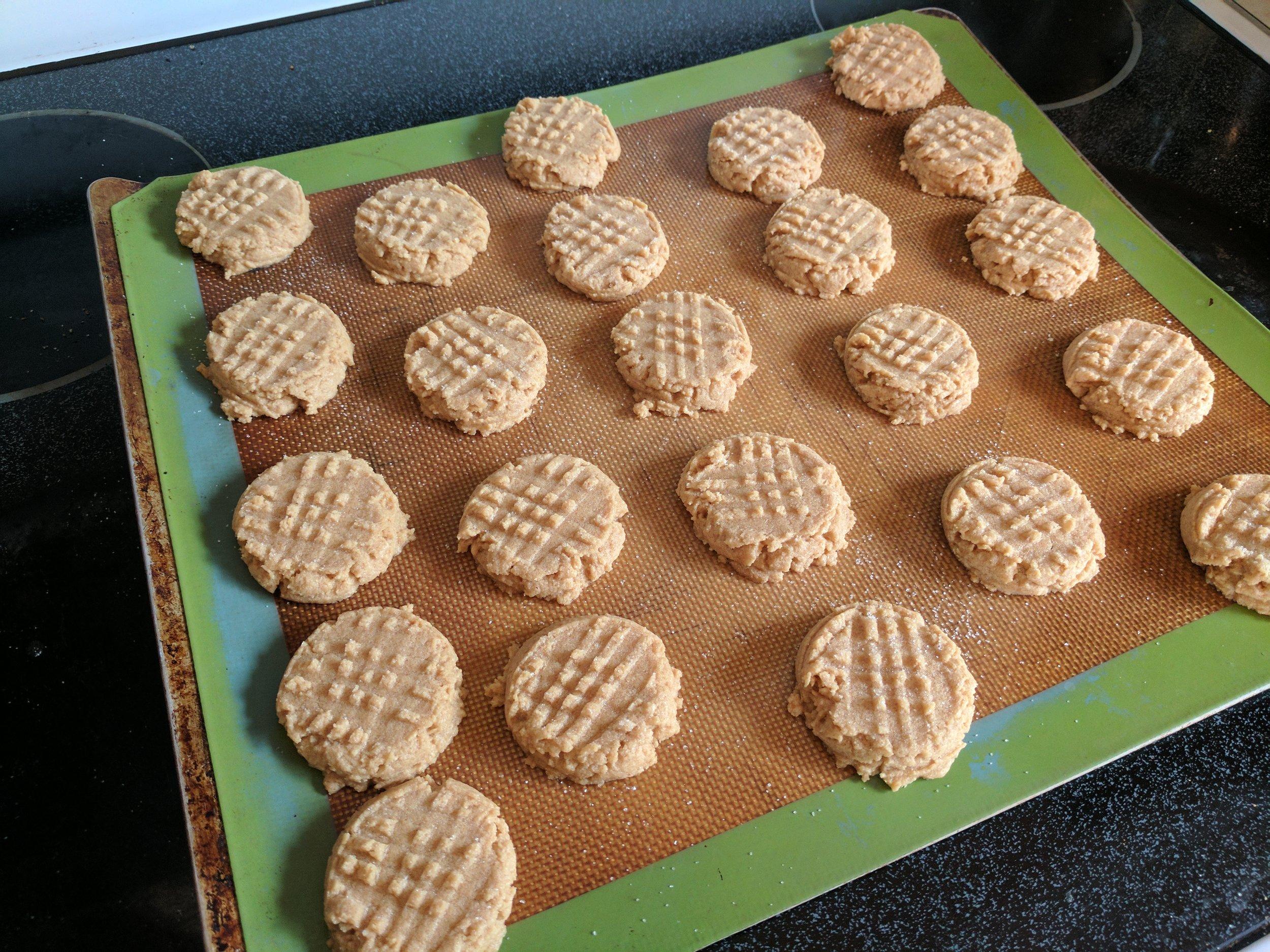3 ingredient peanut butter cookies on baking mat