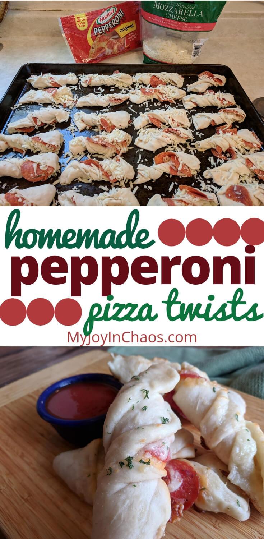 Pepperoni Pizza Twists - Easy weeknight Dinner - Freezer Friendly