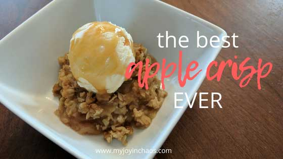Bring the taste of fall into your home with this incredible apple crisp using common pantry ingredients. Don't let fall pass you by without making a pan of this for dessert! #fallrecipes #falldessert #thanksgiving #applerecipes #appledessert #oatmeal