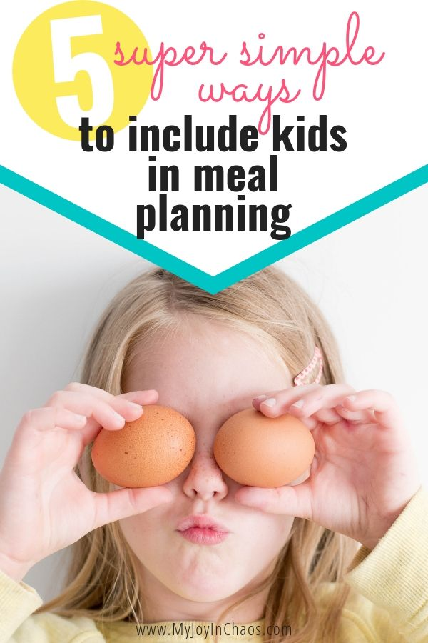 Make meal planning easier when you get your kids to help you decide on meals. Include your kids in every part of the meal planning and grocery shopping process to teach them the skills they need as adults. | My Joy in Chaos