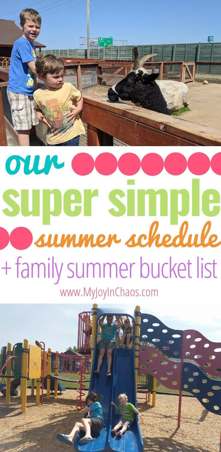 Tips for a summer schedule, an Easy Example Summer Schedule, Family Bucket List, and Family Summer Goals | My Joy in Chaos