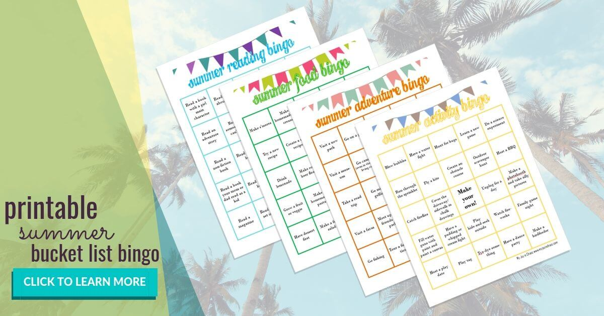 Get your Free Summer Bucket list Bingo Cards full of ideas for a summer full of fun and adventure | My Joy in Chaos