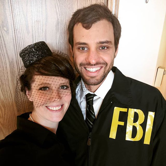 Channeling our inner @prattprattpratt and @plazadeaubrey to pull off Burt Macklin, FBI, and Janet Snakehole, a very rich widow with a terrible secret, for the Halloween party.  Do you dress up for Halloween? . . . . . #janetsnakehole #burtmacklin #andydwyer #aprilludgate #halloween #couplecostumes #marriedtomybestfriend #aprilandandy #costumeparty #marriage #lovemyspouse #marriedtomybestfriend