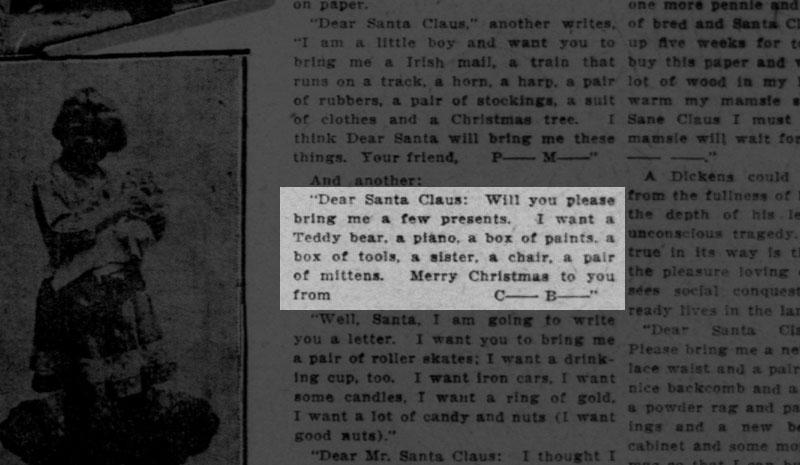 Letter to Santa Claus printed in the San Francisco Call December 20, 1908