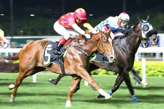 The whip is gone but Skywalk (Wong Chin Chuen, on the outside) still works home nicely to score.
