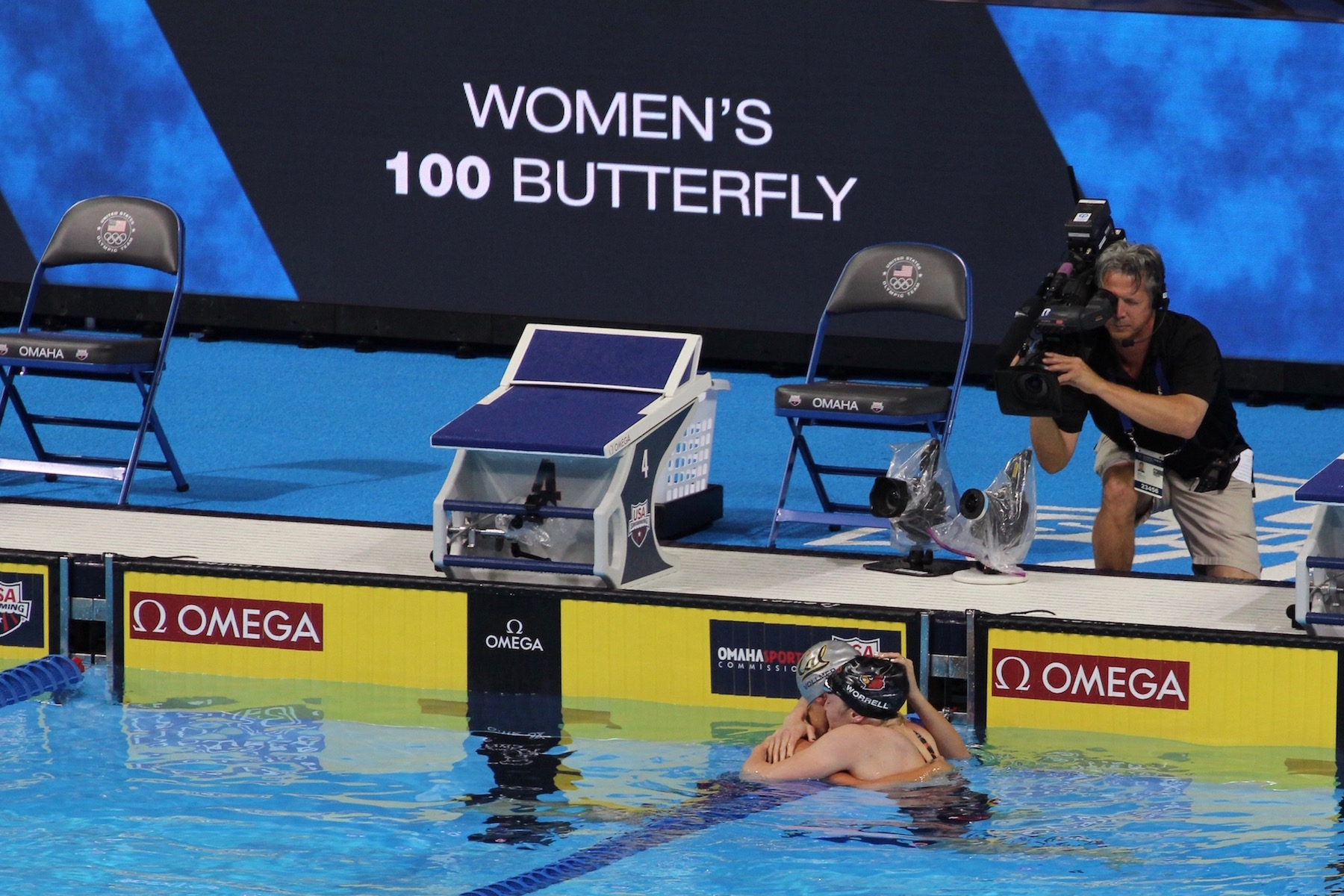 Kelsi Worrell hugs Olympian Dana Vollmer after they both secure spots on the 2016 USA Olympic Team in the 100m Butterfly ( Karl's Instagram )
