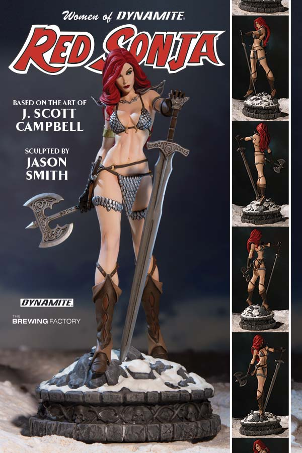 "The She-Devil with a Sword, poised on a snow-covered battlefield, has never looked so majestic! Based on the original design of comics sensation J. Scott Campbell and sculpted by the talented Jason Smith, Hyrkania's most lethal warrior stands approximately 11.5"" in height upon a decorative 5.5"" wide base. Hand-painted on cold-cast porcelain with ABS details, this highly-detailed statue comes individually numbered as part of a Limited Edition run, and is packaged in a four-color box with a hand-numbered Certificate of Authenticity. Welcome the fantasy genre's most iconic female to your collection with the Women of Dynamite: Red Sonja Statue!"