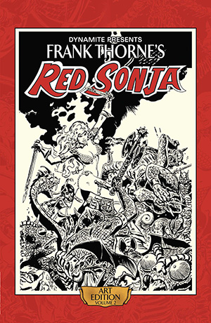 Following-up on the best-selling, and soon to be sold out Volume 1, celebrate fantasy illustration's shining star with Frank Thorne's second Red Sonja Art Edition! The consummate She-Devil artist shares his original storyboards from the first six issues of the acclaimed 1977 Red Sonja comic book series. Scanned in high-resolution color and printed at original size, this gorgeous hardcover collection preserves every detail of the artist's meticulous skill and hard work, while simultaneously presenting a complete storyline for all to enjoy. Limited to initial orders ONLY. ? PRESENTING THE ART OF THE DEFINITIVE RED SONJA ARTIST AT ITS ORIGINAL SIZE IN AN OVERSIZED HARDCOVER EDITION! FEATURING HIGH RESOLUTION, COLOR SCANS OF FRANK THORNE'S ORIGINAL ARTWORK FROM HIS PERSONAL COLLECTION! ? THE SECOND IN A SERIES OF ART EDITIONS FROM DYNAMITE!