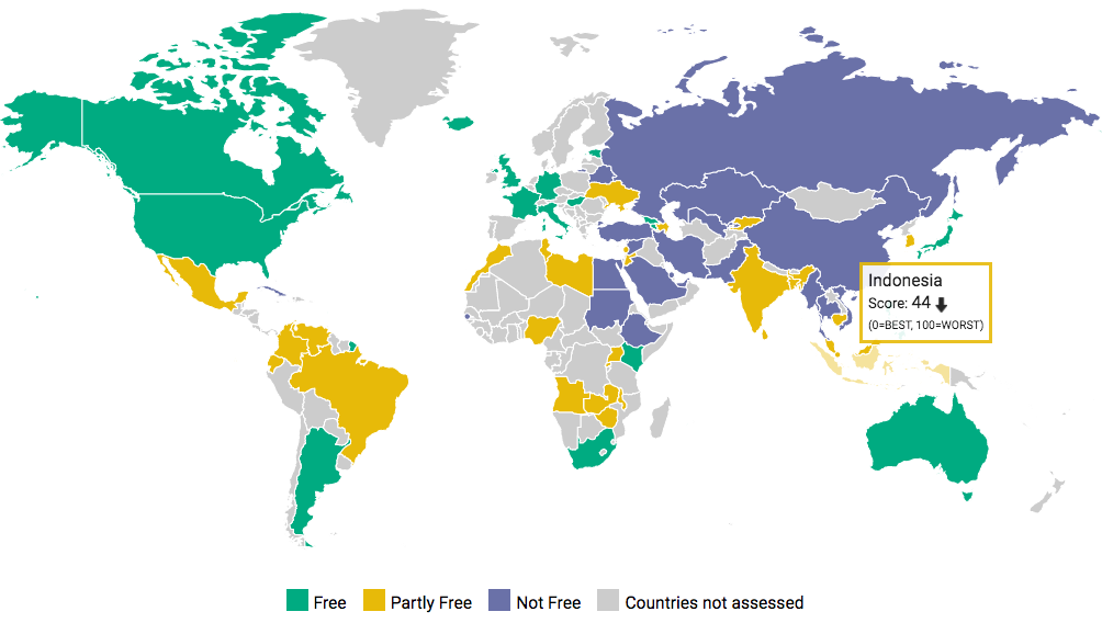 Indonesia, Southeast Asia's most democratic nation, only scores 44 out of 100 in Internet Freedom Index 2016 ( source )