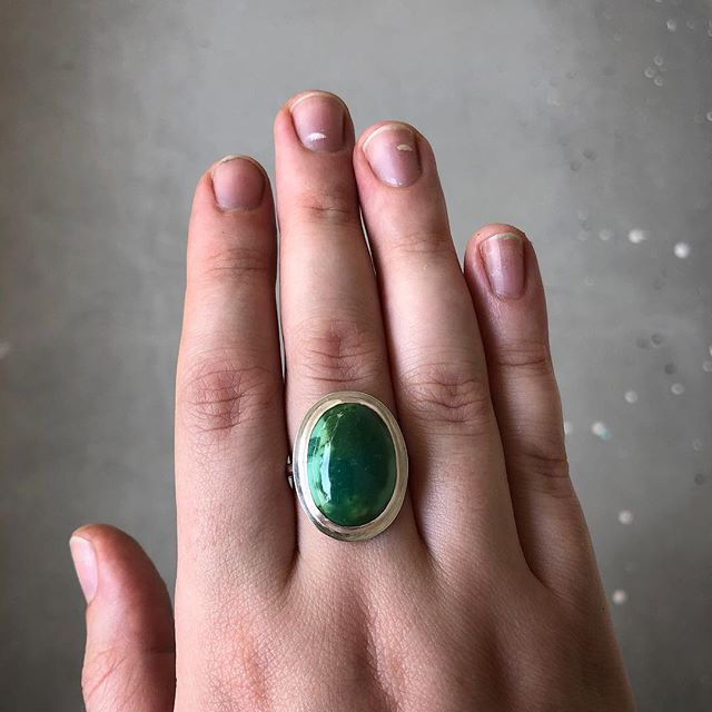 🐣 Lil egg for Easter Sunday.  Juicy green Mexican turquoise set in sterling silver * Prepping some new works for next weekend's @publicgarden , hope to see yinz there!