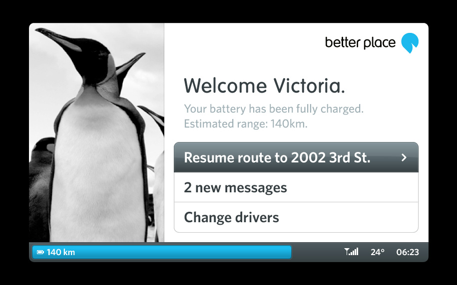 Better Place driver dashboard