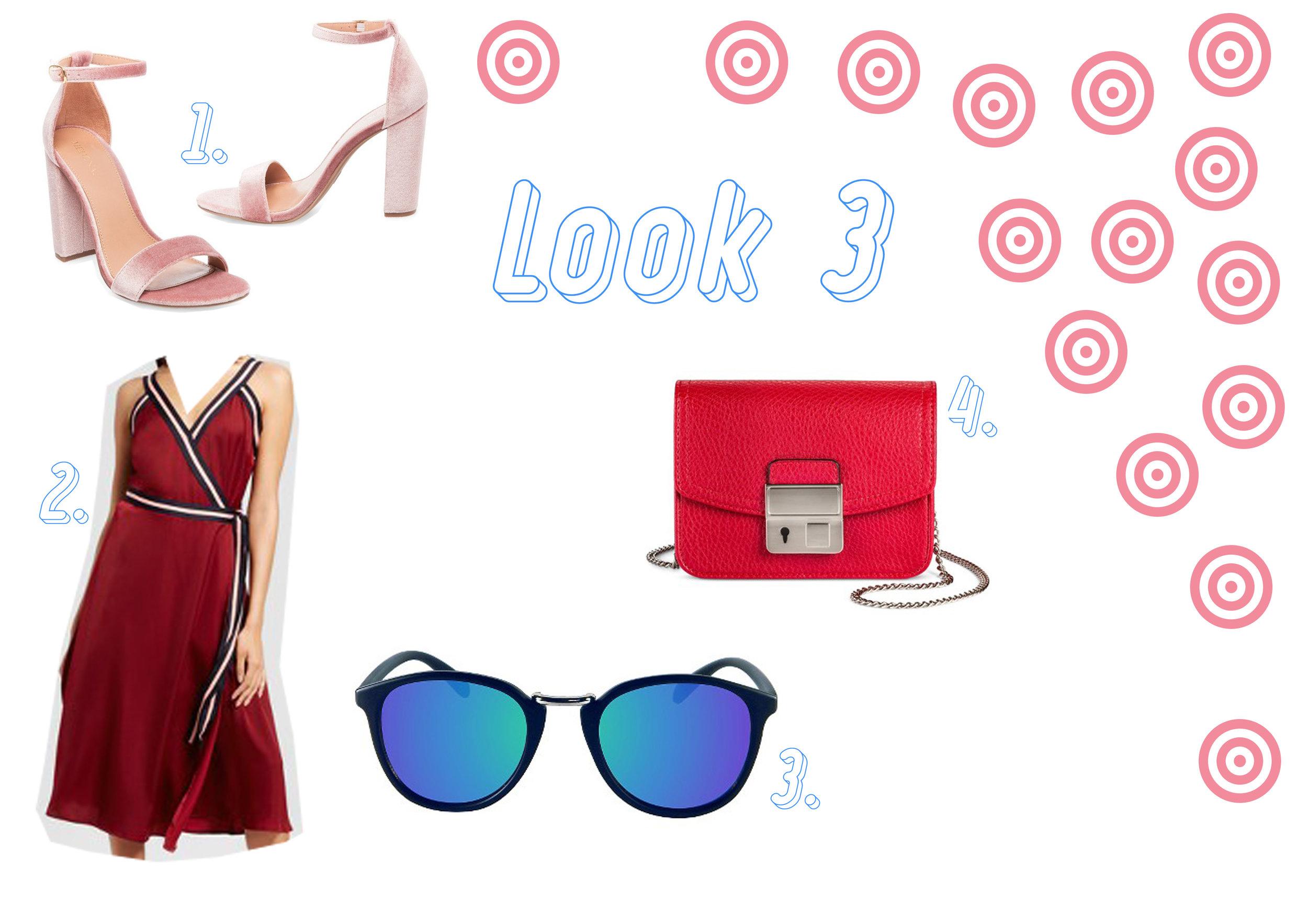 1. Velvet strap heel  here  - 2- Wrap dress here - 3. Sunglasses  here  - 4. Red bag  here