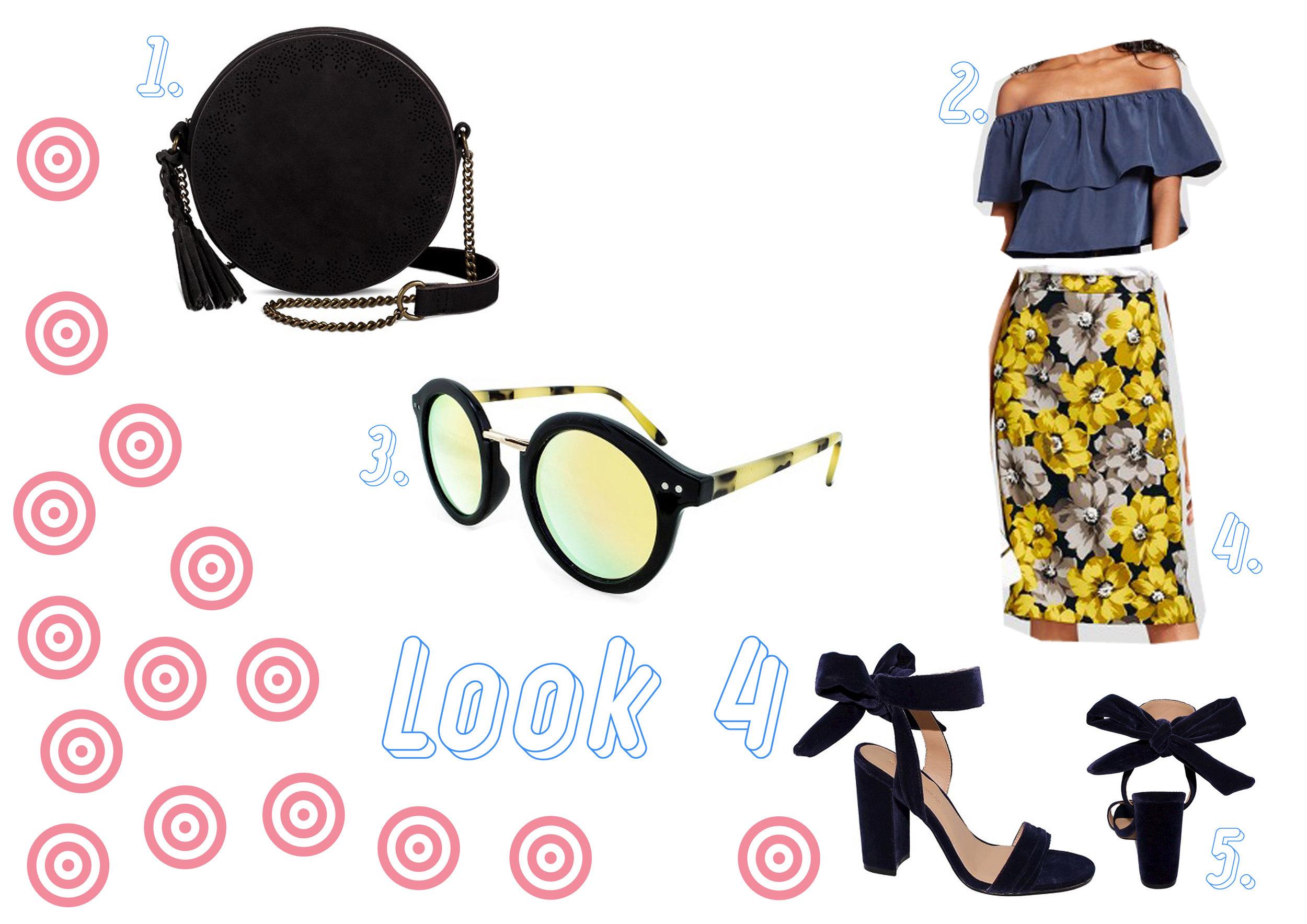 1. Black handbag  here  - 2. Blue flounce top  here  - 3. Yellow sunglasses  here  - 4. Yellow skirt  here  - 5. Blue velvet shoes  here