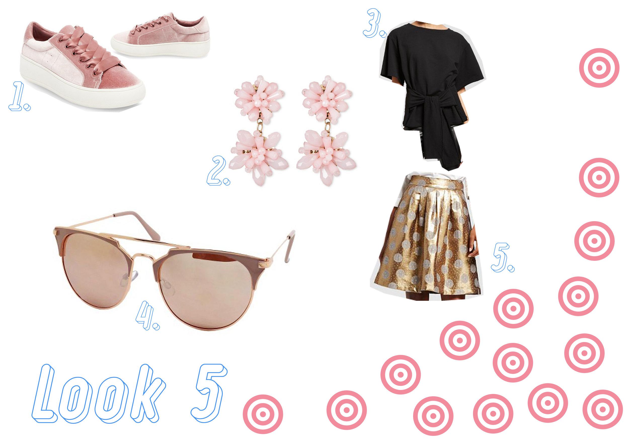 1. Velvet sneakers  here  - 2. Earrings  here  - 3. Black top  here  - 4. Rose gold sunglasses  here  - 5. Gold skirt  here