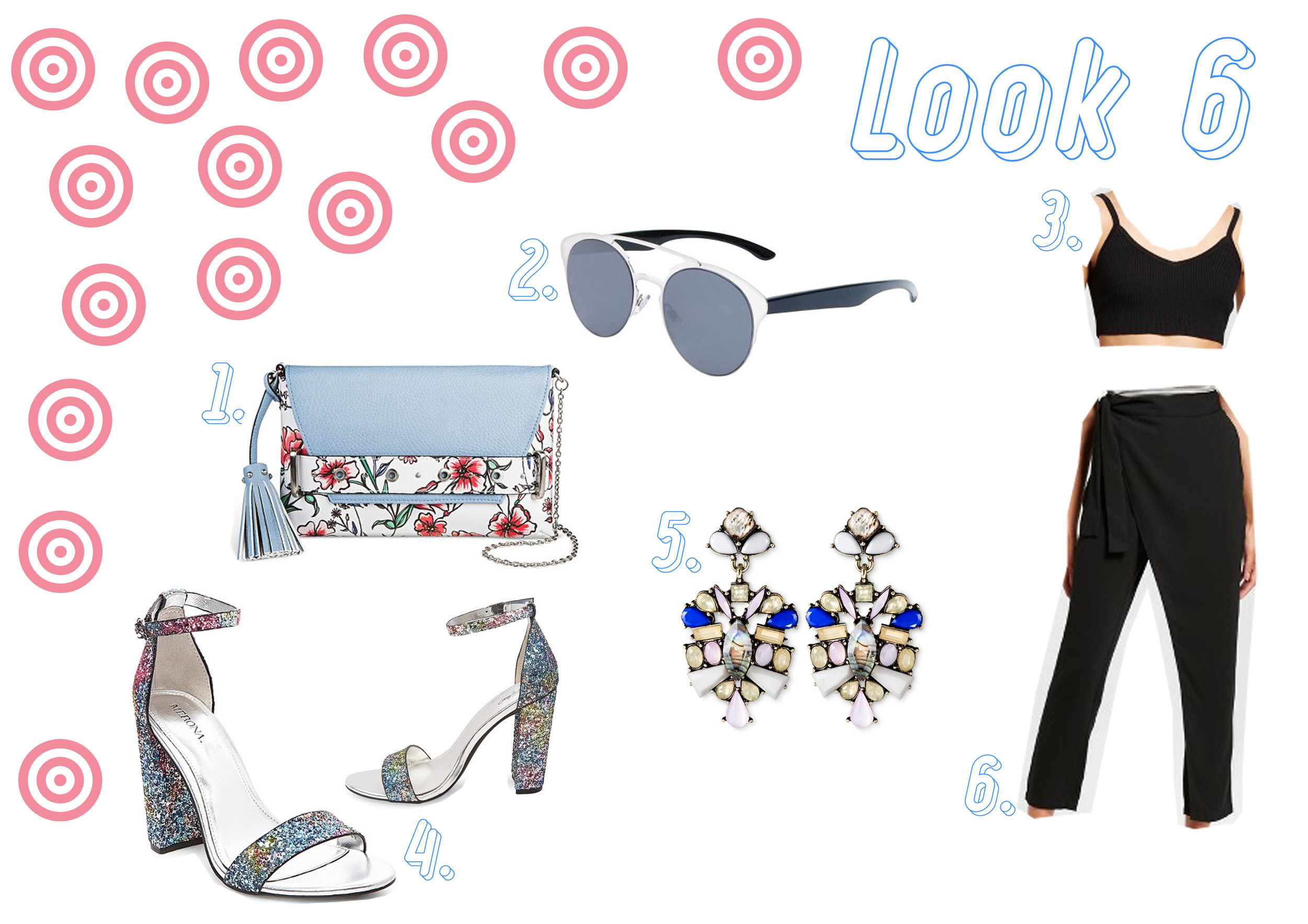 1. Floral handbag  here  - 2. Silver sunglasses  here  - 3. Crop top  here  - 4. Glitter shoes  here  - 5. Earrings  here  - 6. Black trousers  here