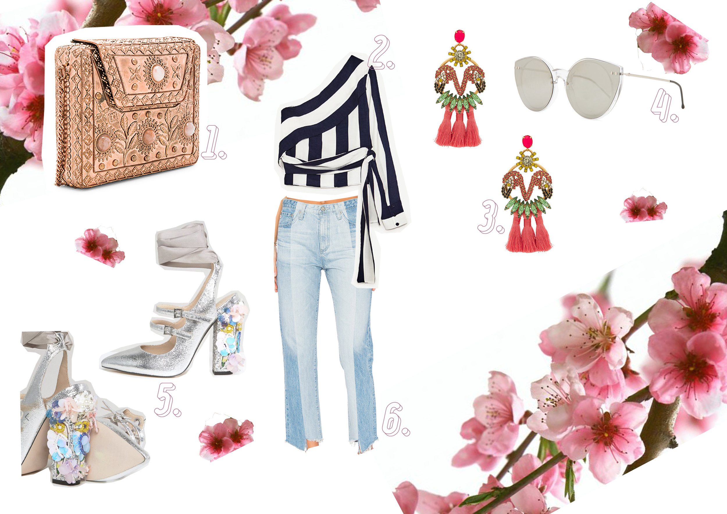 1. Embellished bag  here  // 2. Striped top  here  // 3. Flamenco ear rings  here  // 4. Silver sunglasses  here  // 5. Silver shoes  here  // 6. Denim jeans  here .