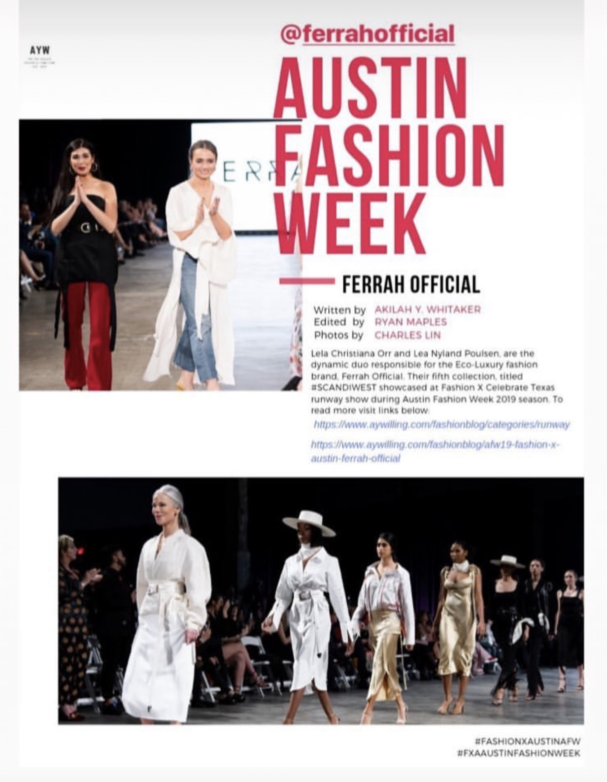 Recap on Austin Fashion Week, where collection V of Ferrah was showcased in February 2019.