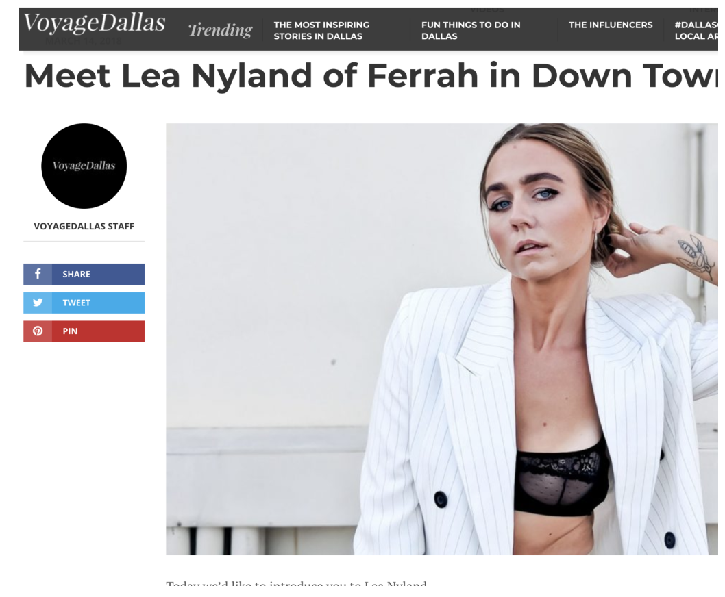Interview in VoyageDallas.com, Lea Nyland talking about her work with Ferrah.