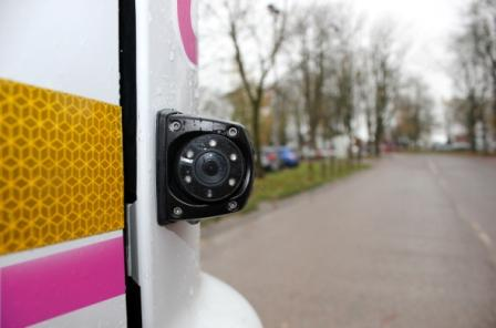 Video cameras are fitted to the front, rear and sides of each vehicle, allowing drivers to view all potential blind spots. Motion sensors along the nearside of each vehicle can detect cyclists or pedestrians, and alert the driver.
