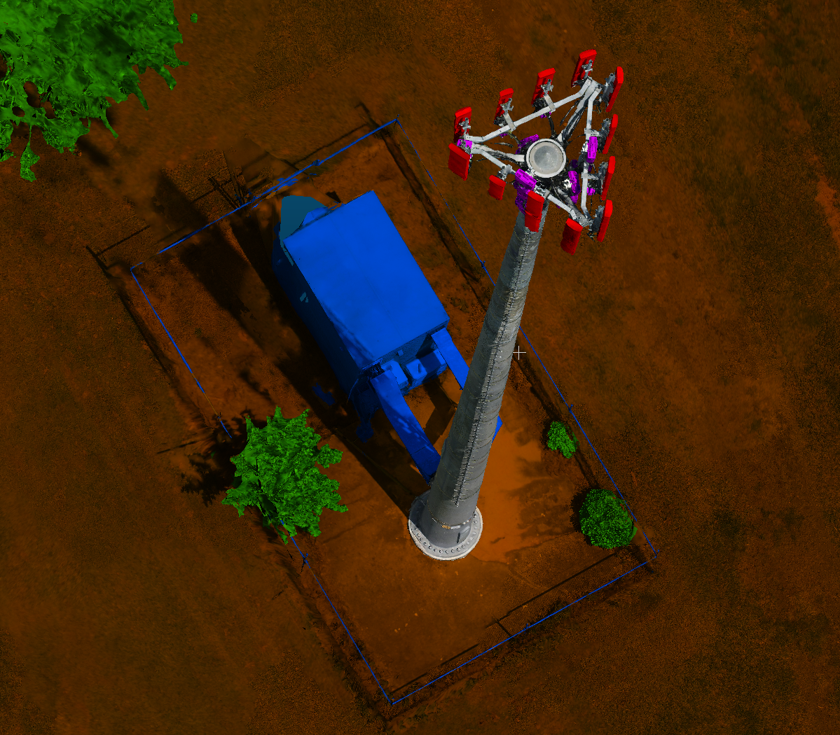 The red indicates antenna panels, purple is RRU/Box/BOB/RET, green is tree, blue is building.