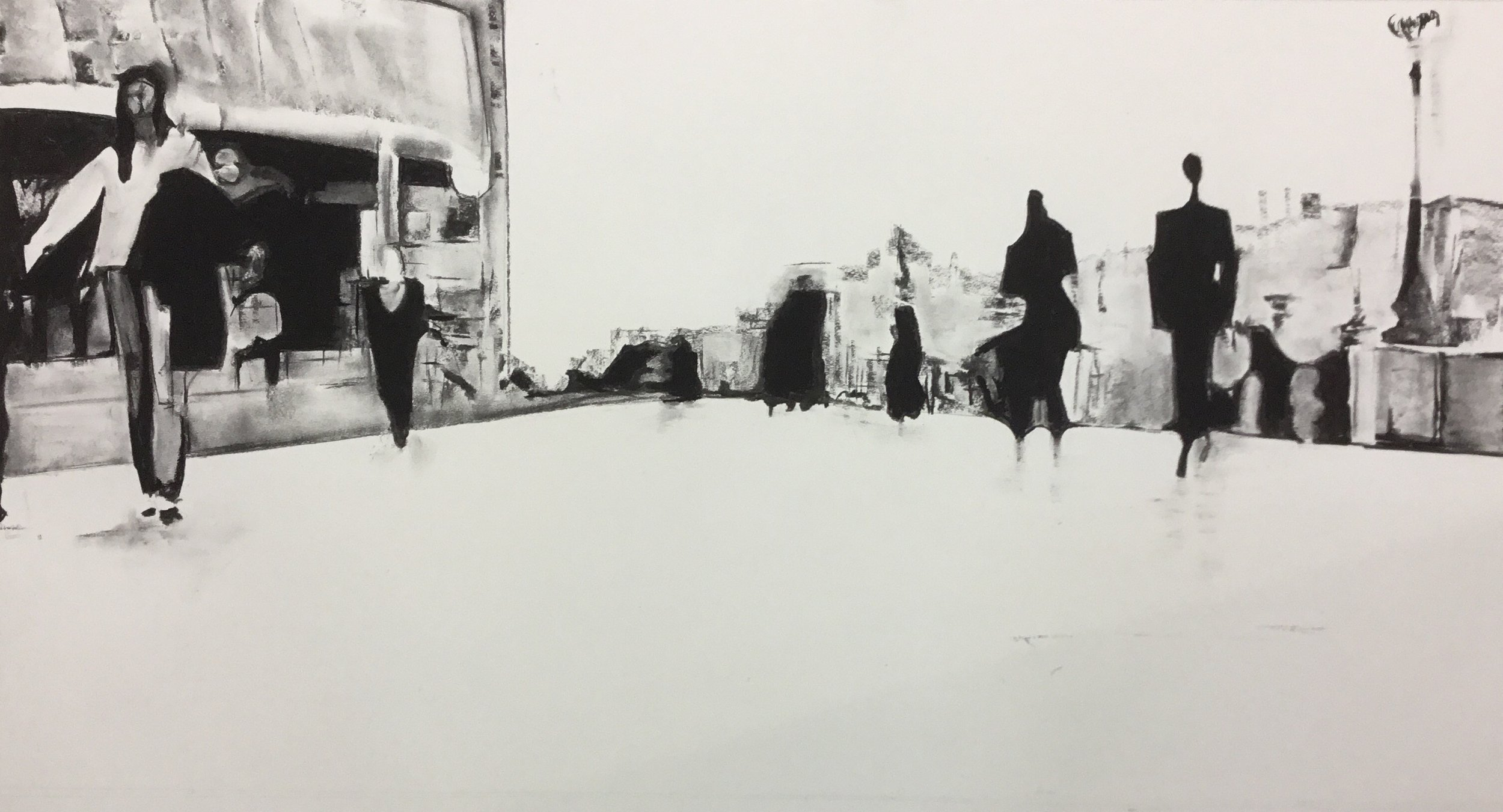 The commute i. charcoal on fabriano paper 117x69cm framed