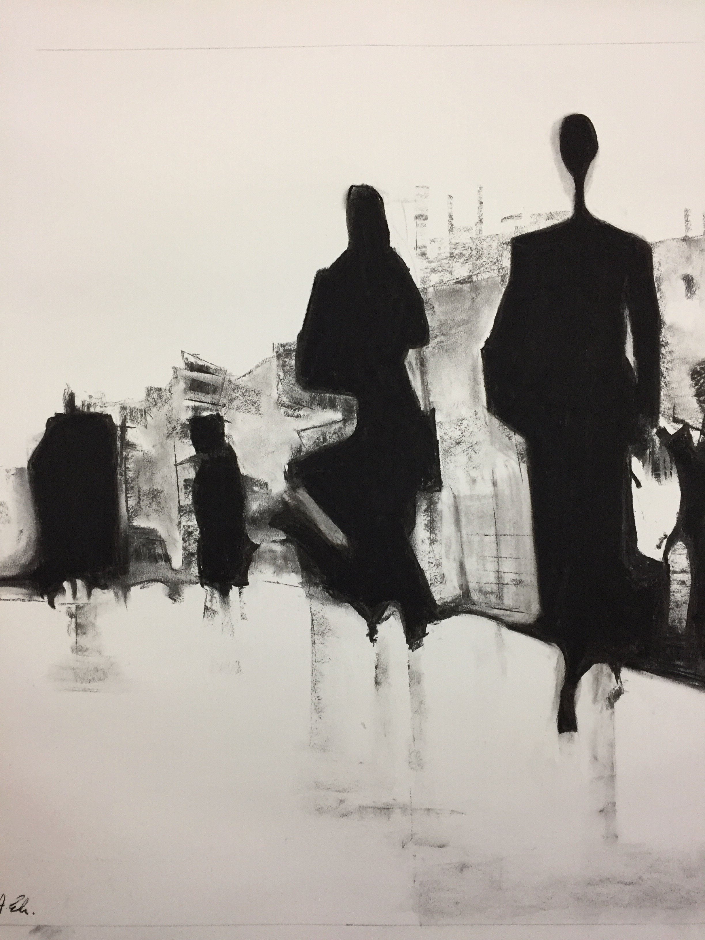 the commute ii charcoal on fabriano.  79x89cm framed