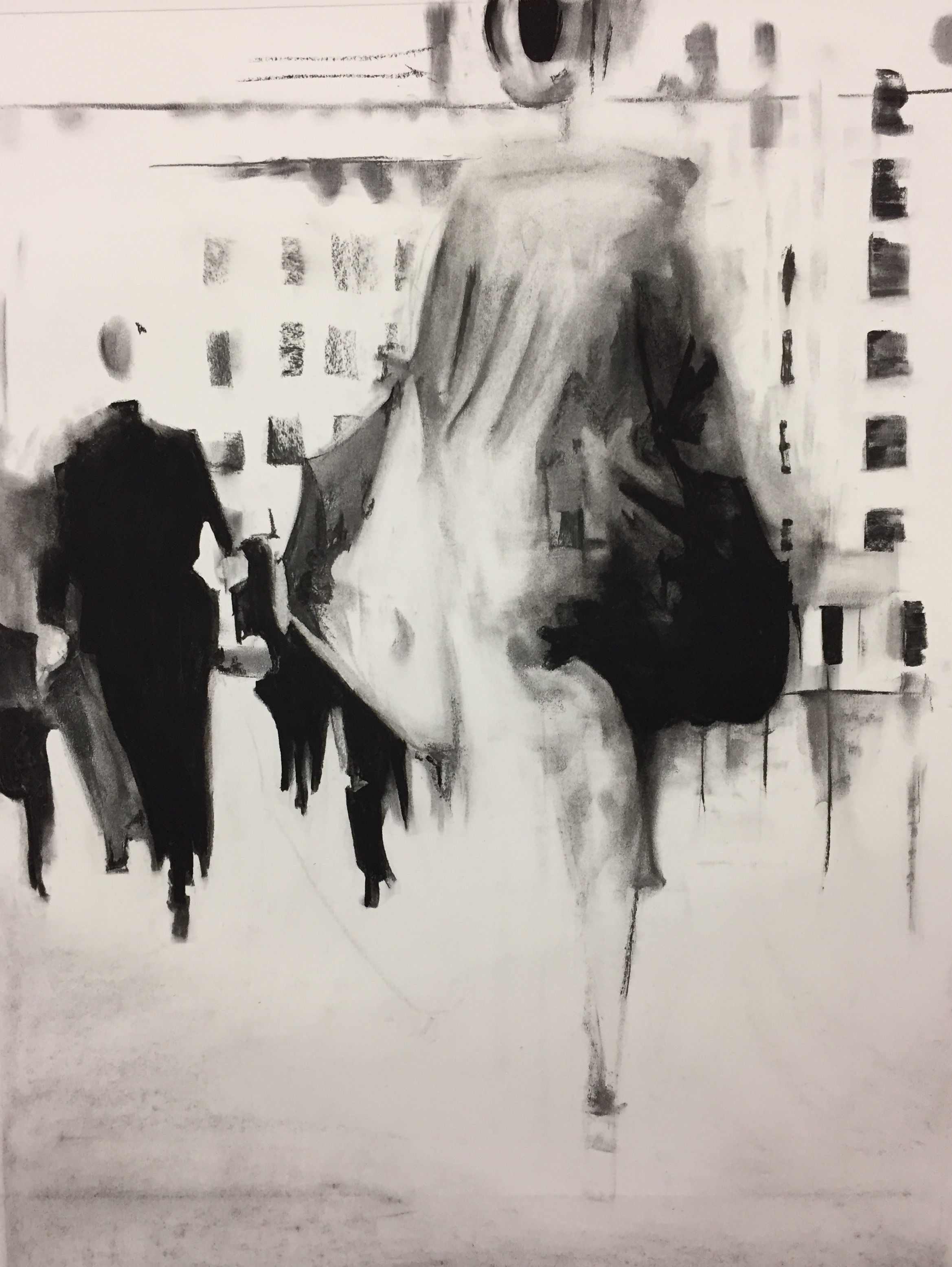 WALK AWAY I. CHARCOAL ON PAPER  73X93CM. FRAMED