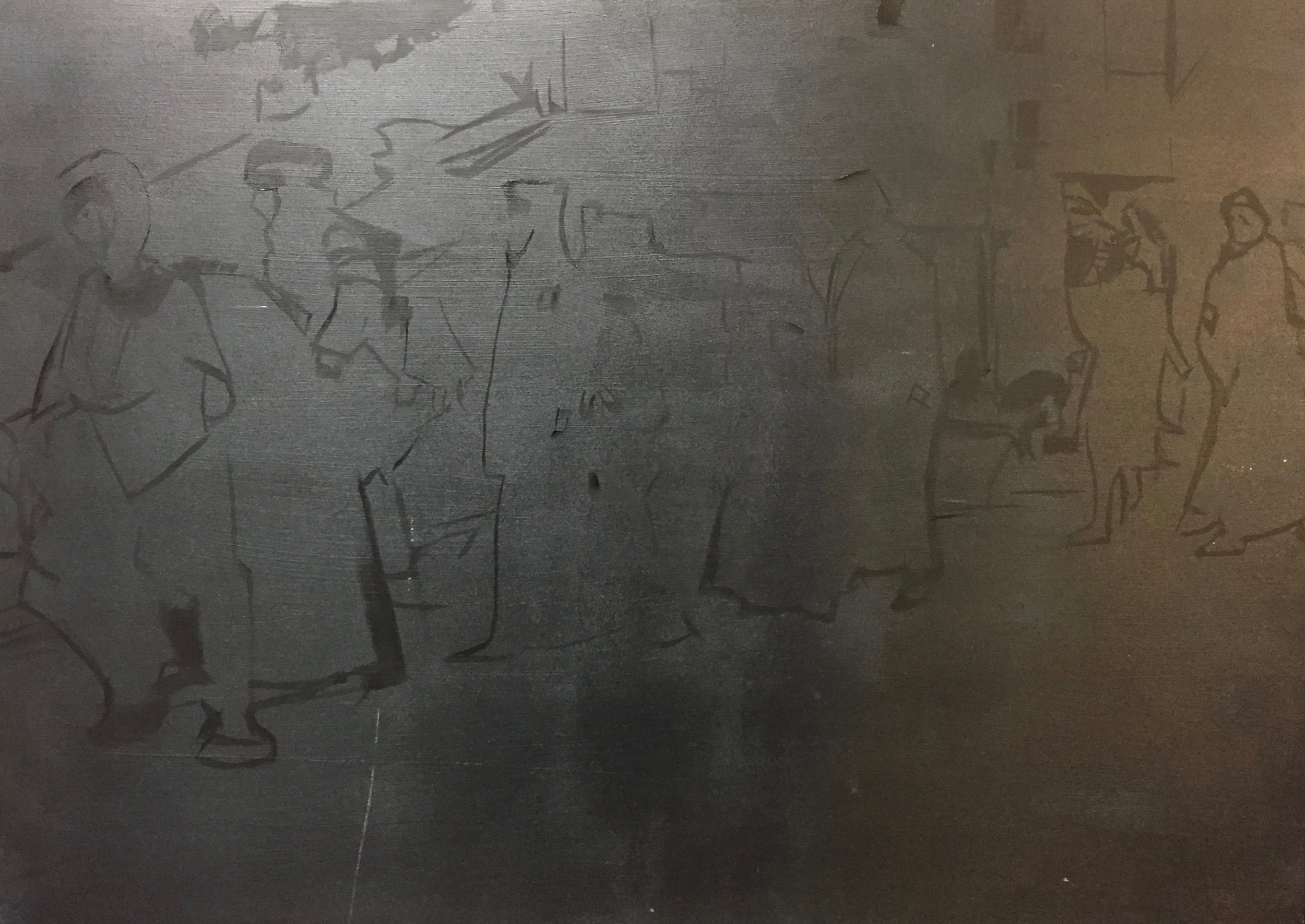 Step one of a new series based on images of people leaving Aleppo.Outline sketch on an A1 wooden panel.