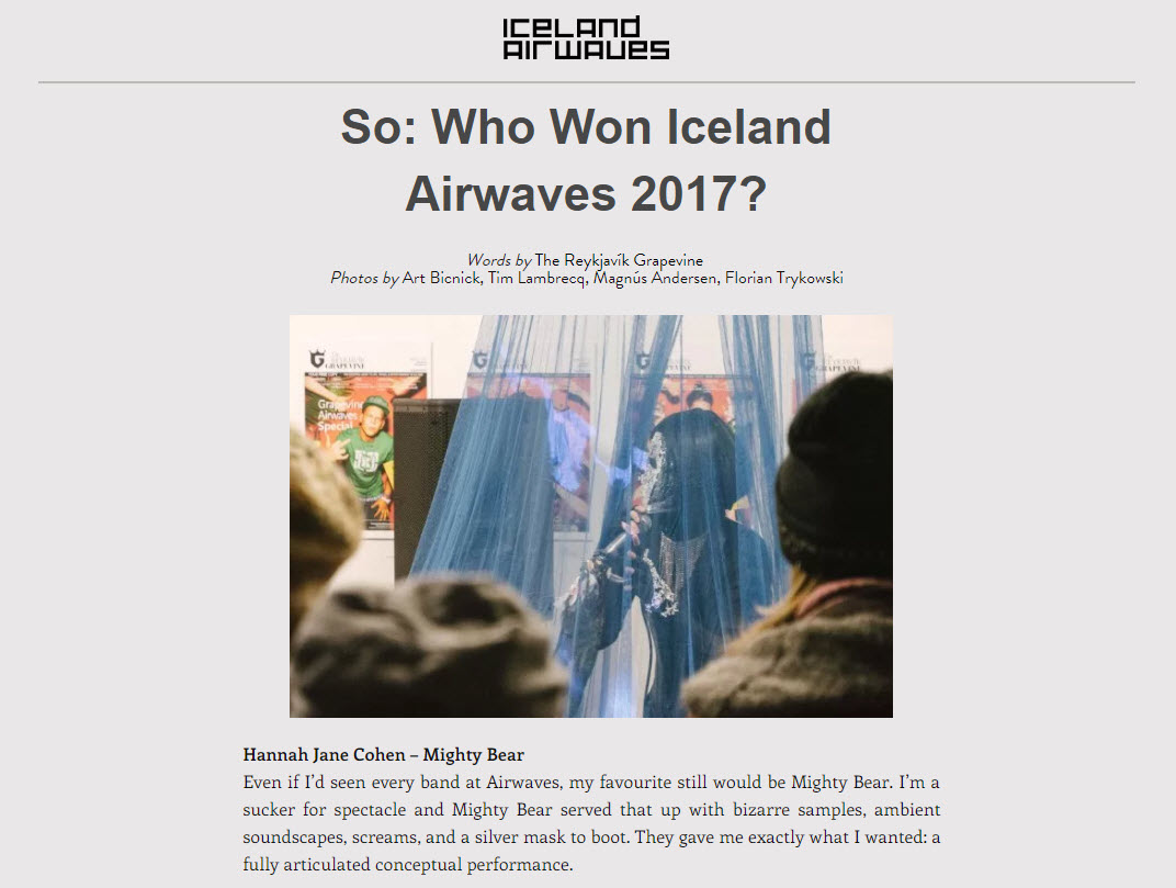 Who won Iceland airwaves 2017