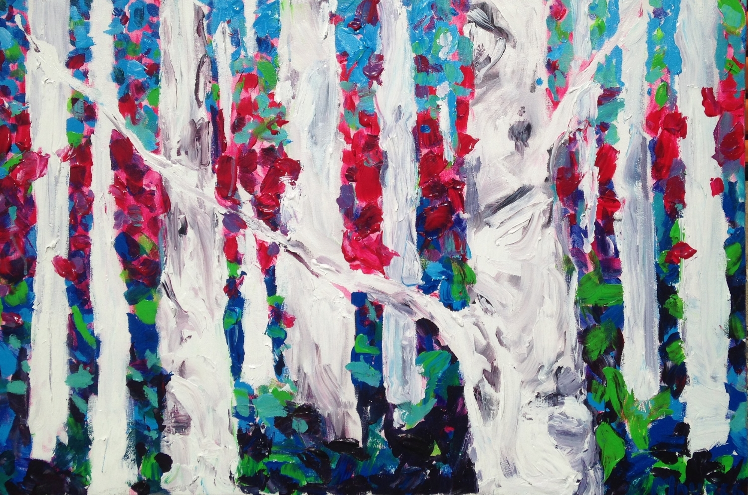 Jodie Maurer - Birch Tree Forest, Pink, Purple and Blue, 24x30in $800 acrylic.jpg