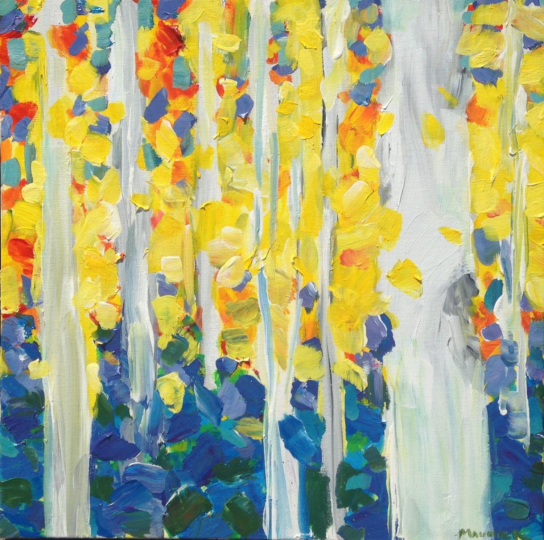 Jodie Maurer - Birch Tree Forest, Yellow 24x24in $500 acrylic.jpg