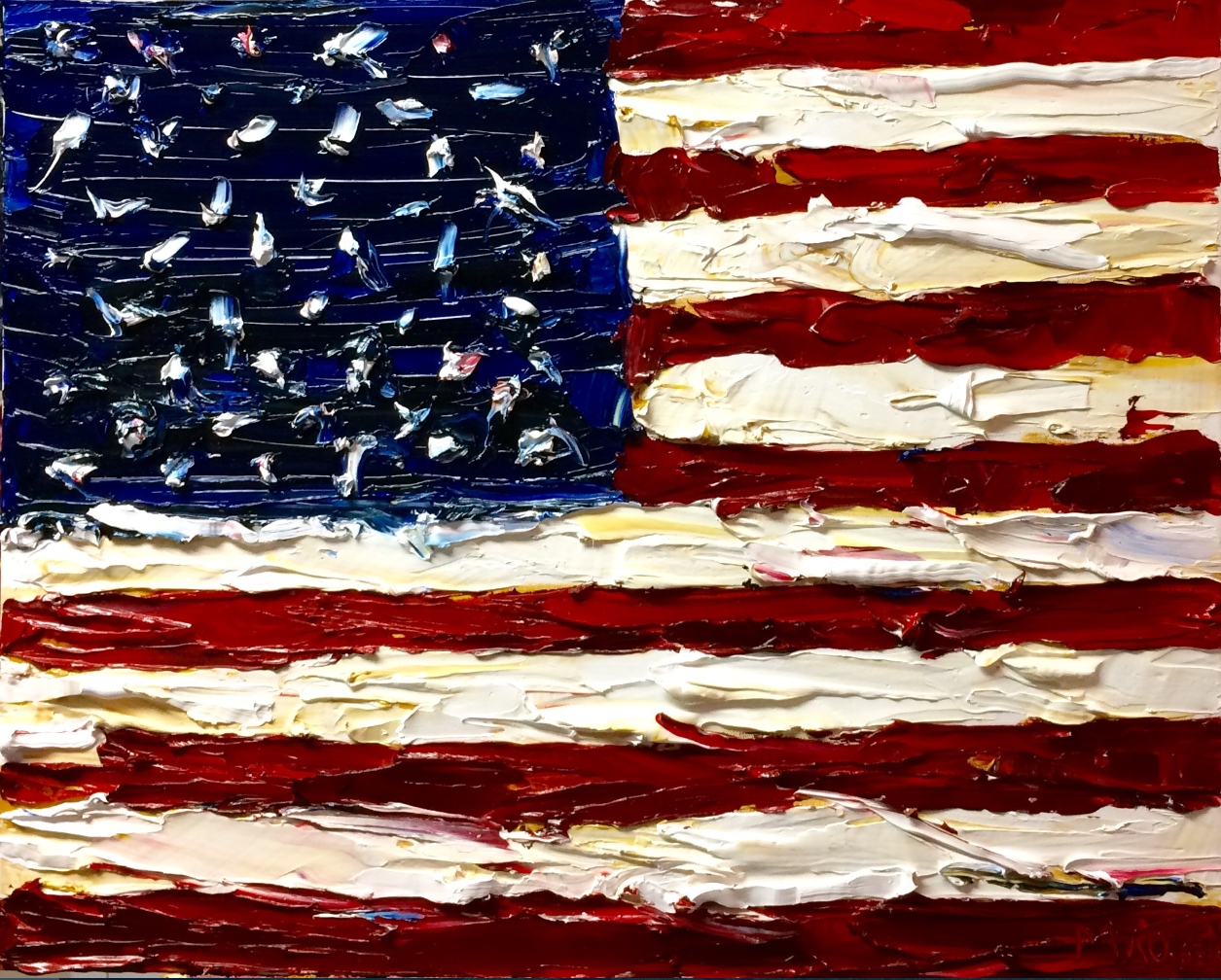 United We Stand, 24x30in, Oil, $945 Commission your own USA Flag painting. Email me on my contact page for more details.