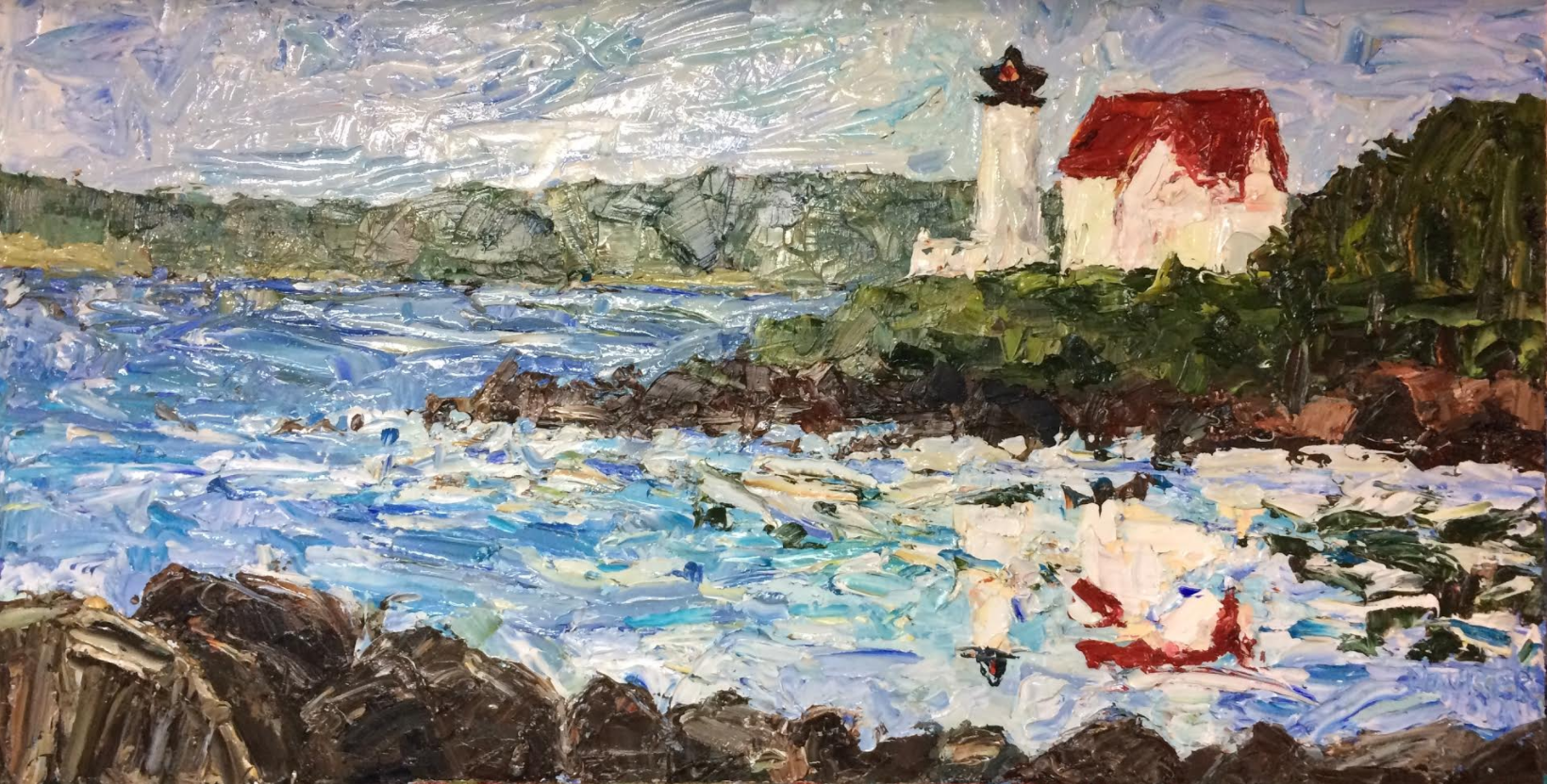"""Hendricks Lighthouse, Maine Lighthouse, Commission, Oil, 46x24in""""  I painted over the below image, using it as an under-painting, to assist me in creating the above final product for the commission. I did not video the final periods of painting which led to the fantastic outcome above.  The completion of this painting was the result of several layers and tubes of paint and the triumph of joy and grace over doubt and discouragement. The hardest aspect of painting a commission is forming a composition of colors and strokes that genuinely speak to the client. Each commission strengthens me as an artist. The client's eye for what they love about my style often propels me forward to a new depth, searching to further develop it. In the case of this lighthouse the client's family continually expressed their enjoyment of the thick """"goopy"""" layers of paint, resulting in a texture that enhances the painting's voice. Their encouragement freed me to trust my instinct. The difference texture makes in my painting style is evident when comparing the thinly applied under-painting below and the texture filled goopy layered painting above."""
