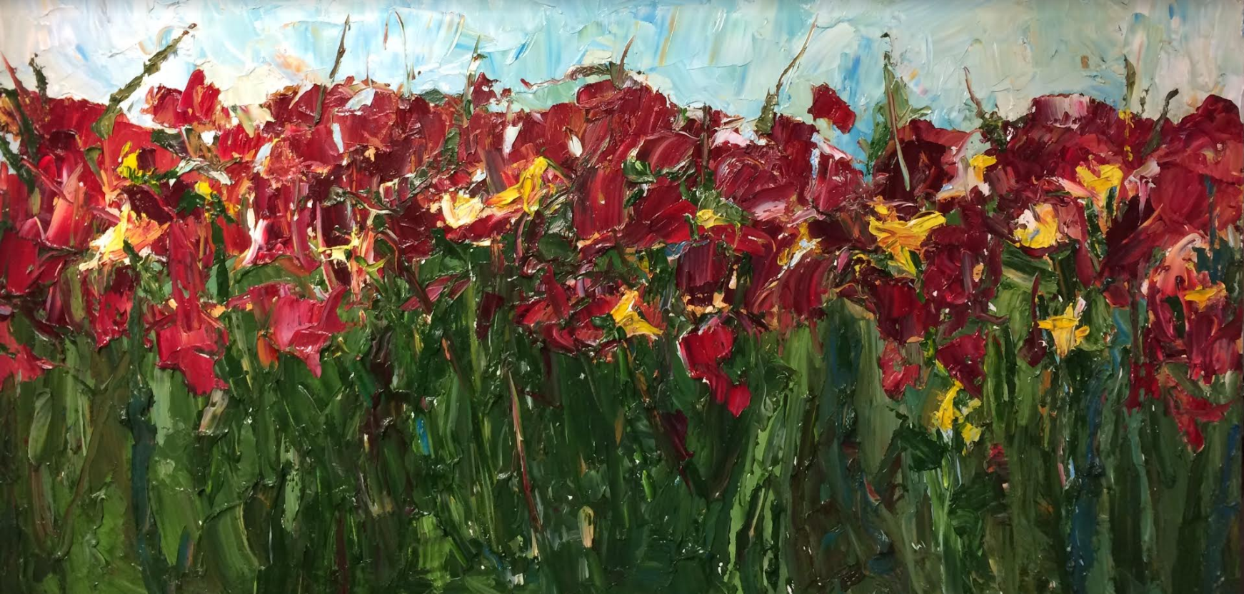 Red and Yellow Flowers in a Field of Green, Commission 48x24in Oil on Canvas  The yellow flowers were added in as a request of the client to match their decor. I am impressed by their eye for color and interior design. I greatly value the dynamic between the client and artist in the commission process to bring out a final painting that genuinely speaks to both the client and the artist.