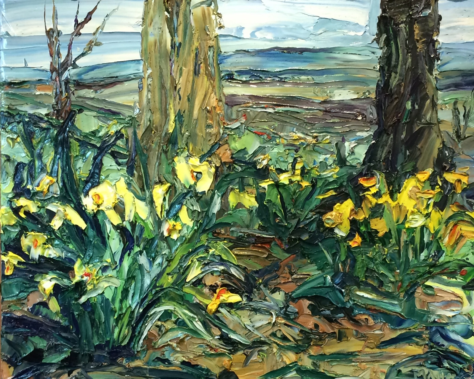 Daffodils at Queeny Park, Oil painting, 24x30in