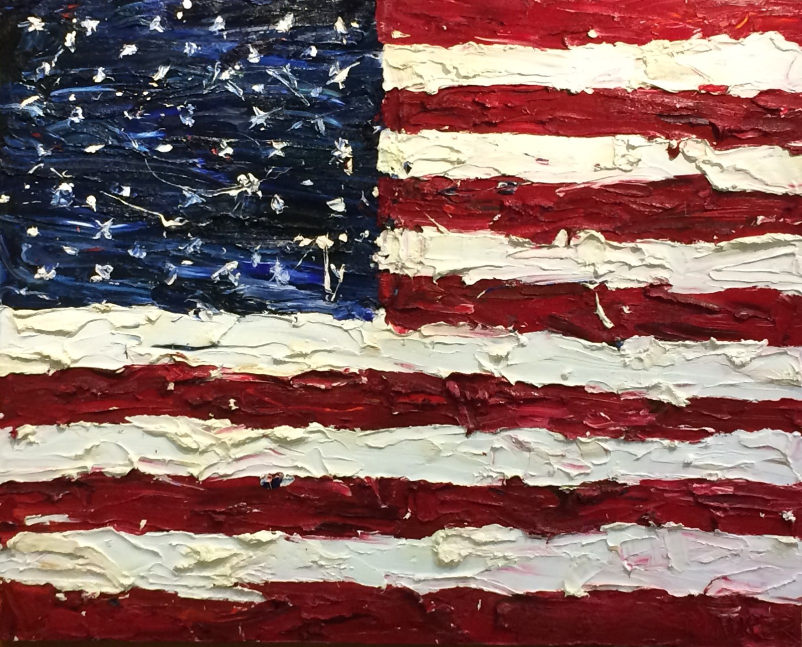 USA Flag, Oil painting, 48x60in