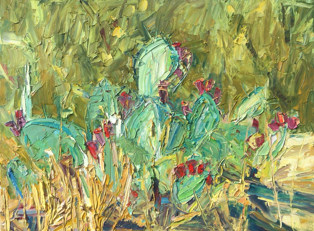 Cactus near Jan's, Austin, TX, Oil, 36x48in, $3,700