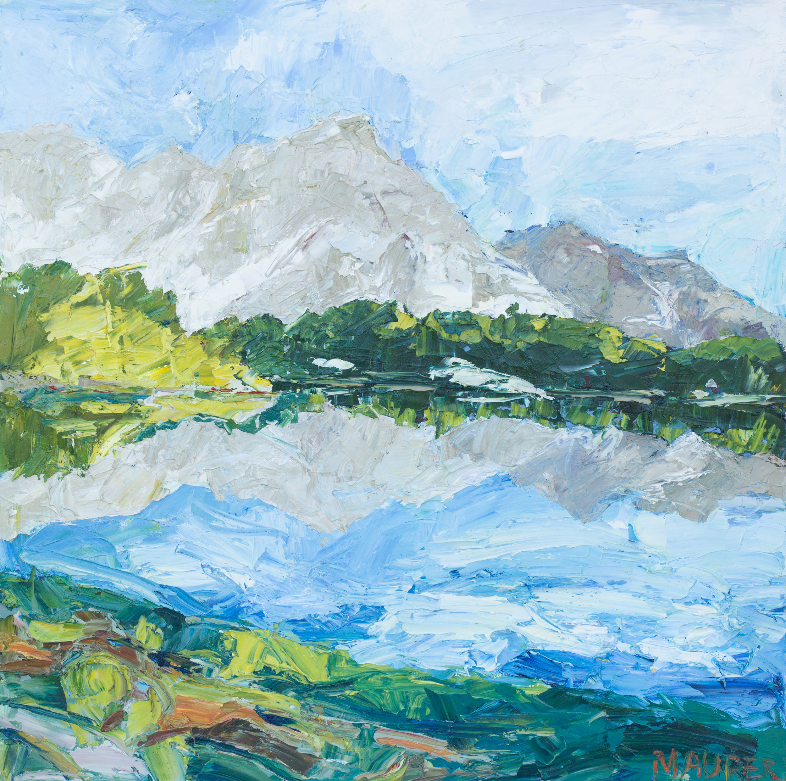 Mountain Reflections, 36x36in, $2,800