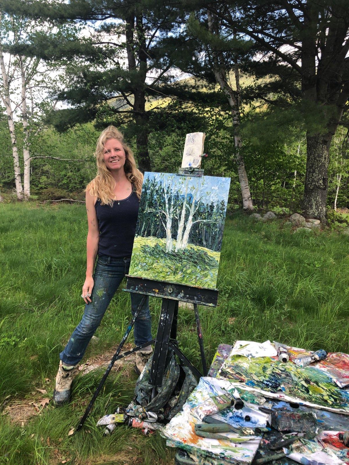 Mountain Road, Tamworth, NH  Birch Trees, 24x20in, oil on panel, $1,000