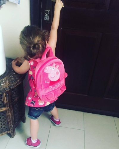 Ready for her big first day at nursery!